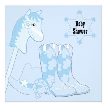 Black Blue Cowboy Baby Shower Invitation