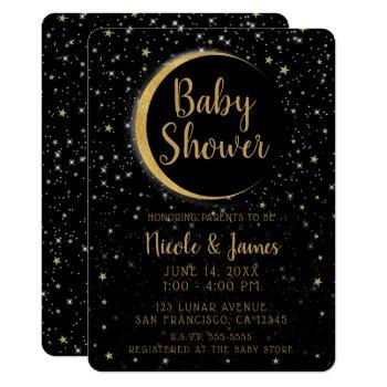 Black Gold Celestial Moon Magic Stars Baby Shower Invitation