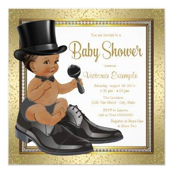 Black Gold Ethnic Little Man Baby Shower Invitation