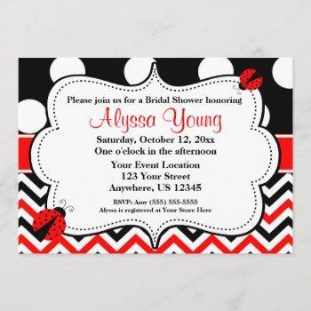 Black Red Ladybug Chevron Invitation
