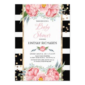Black Stripes Gold And Pink Floral Baby Shower Invitation