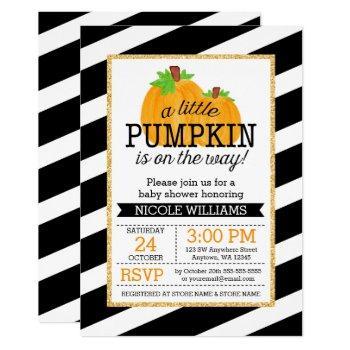 Black Stripes Gold Little Pumpkin Fall Baby Shower Invitation