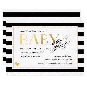 Black & White Stripe Baby Girl Shower Gold Accents Invitation