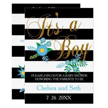 Black & White Stripes | Blue Floral | Baby Shower Invitation