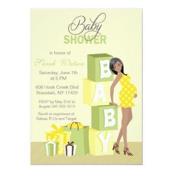 Blocks Baby Shower Neutral African American Invitation