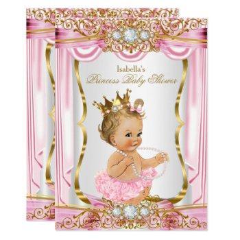 Blonde Girl Princess Baby Shower Pink Silk Gold Invitation