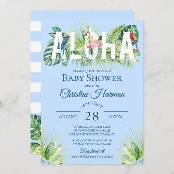 Blue Aloha Flamingo Tropical Birds Boy Baby Shower Invitation