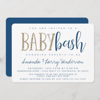 Blue And Gold Baby Bash, Couples Baby Shower Invitation