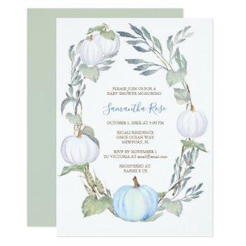 Blue And White Pumpkin Greenery Baby Shower Invite