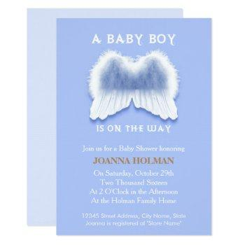 Blue Angel Wings Baby Shower Card