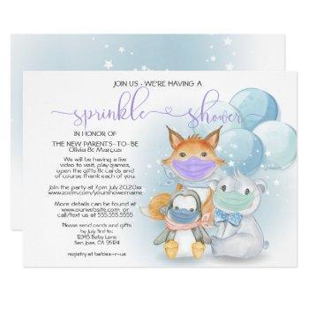 Blue Arctic Animals In Masks Sprinkle Shower Invitation