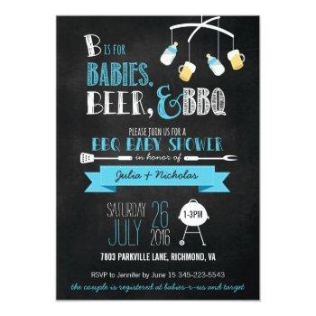 Blue Babies, Beer & Bbq Baby Shower Invitation