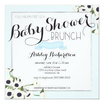 Blue Baby Shower Brunch Invitation