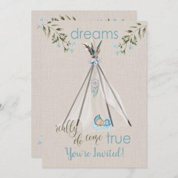 Blue Baby Shower For Boys  Boho Dreamcatcher Tipi Invitation