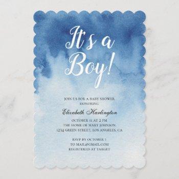 Blue Baby Shower. It's A Boy. Watercolor Modern Invitation