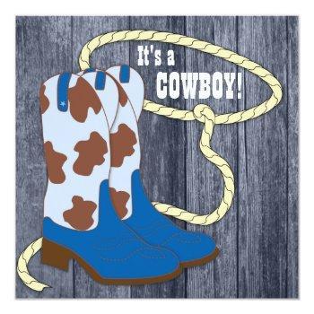 Blue Barn Wood Cowboy Baby Shower Invitation