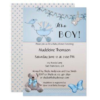 Blue Beige Bear Boy Baby Shower Invitation