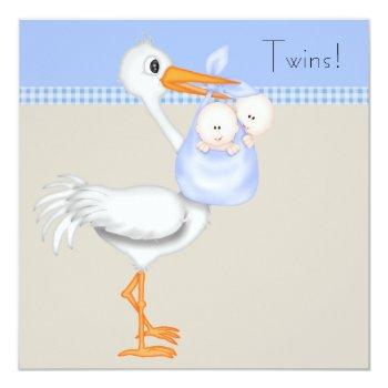 Blue Beige Gingham Stork Twin Baby Boy Shower Invitation