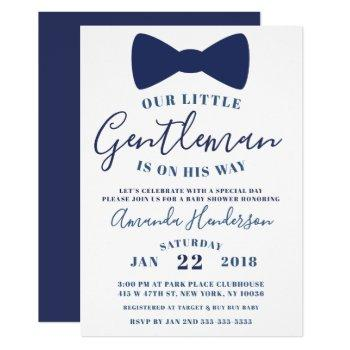 Blue Bow Tie Gentleman Baby Shower Invitation