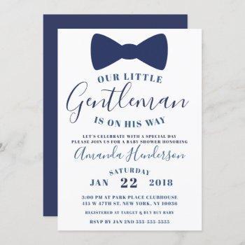 Blue Bow Tie Gentleman Baby Shower Invitation