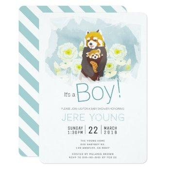 Blue Boy 'red Panda' Baby Shower Invitation Card