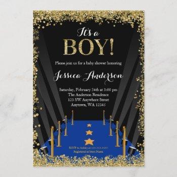 Blue Carpet Hollywood Faux Glitter Boy Baby Shower