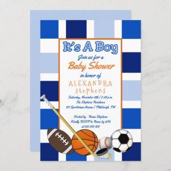 Blue Color Block Sports It's A Boy Baby Shower
