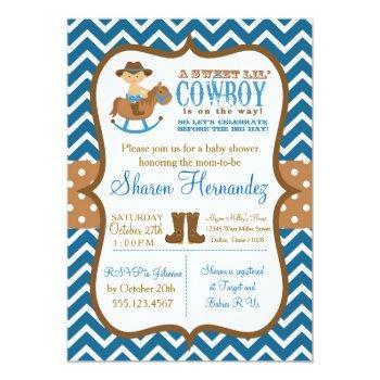 Blue Cowboy Baby Boy Shower Invitation Chevron