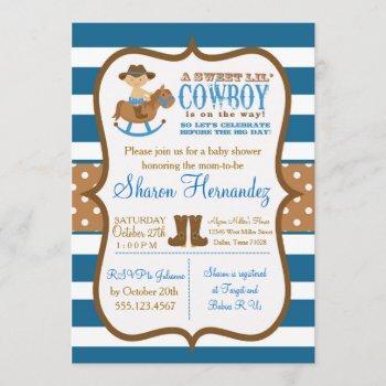 Blue Cowboy Baby Boy Shower  Striped