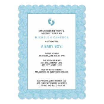 Blue Damask Boy Baby Shower Invite W Feet