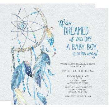 Blue Dreamcatcher Baby Shower Invitation