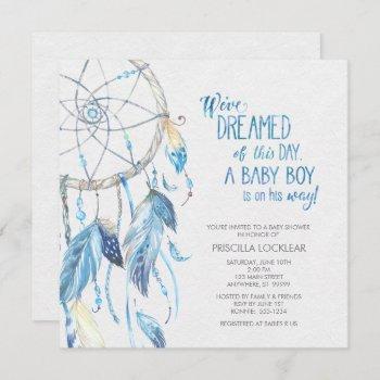 Blue Dreamcatcher Baby Shower Invitation