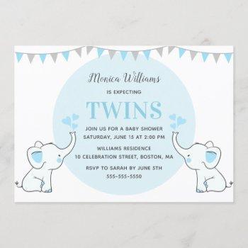 Blue Elephant Baby Shower   Boy Twins Baby Shower Invitation