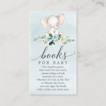 Blue Elephant Book Request Baby Shower Card