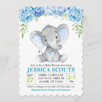 Blue Elephant Boy Baby Shower Sprinkle Invitation