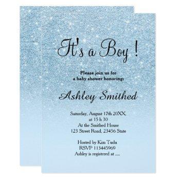 Blue Faux Glitter Pastel Ombre Boy Baby Shower Invitation