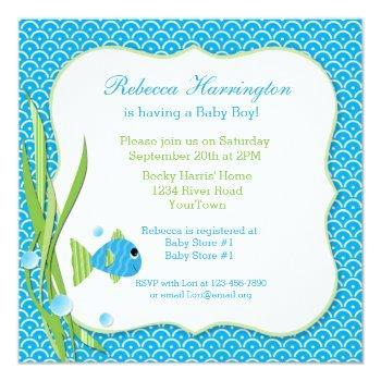 Blue Fish Baby Shower Invitation