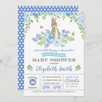 Blue Floral Bunny Baby Shower Woodland Boy Rabbit