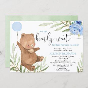 Blue Floral Greenery Bear Balloon Boy Baby Shower Invitation