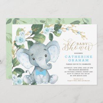 Blue Floral Greenery Gold Elephant Baby Shower Invitation