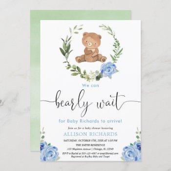 Blue Floral Greenery Teddy Bear Boy Baby Shower Invitation