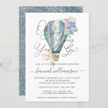 Blue Floral Hot Air Balloon Baby Shower Invitation