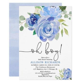 Blue Floral Oh Boy Baby Shower Invitation