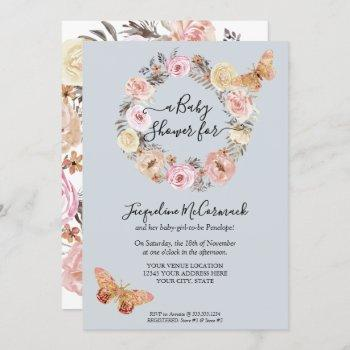 Blue Floral Watercolor Wreath  Butterfly Baby Girl Invitation