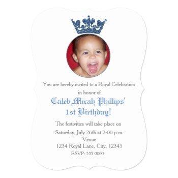 Blue Glitter Crown Royal Birthday Photo Invitation