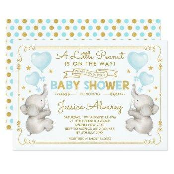 Blue Gold Elephant Baby Shower Boy Jungle Invite