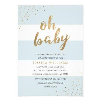 Blue & Gold Modern Stripes Oh Baby Shower Invite