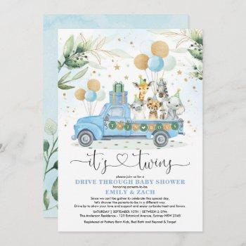 Blue Gold Twin Boys Jungle Drive Thru Baby Shower Invitation