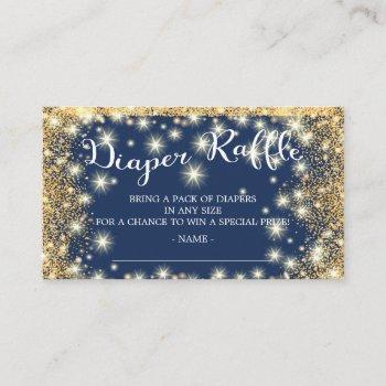 Blue & Gold Twinkle Star Diaper Raffle Ticket Enclosure Card