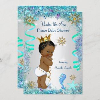 Blue Gold Under The Sea Prince Baby Shower Ethnic Invitation